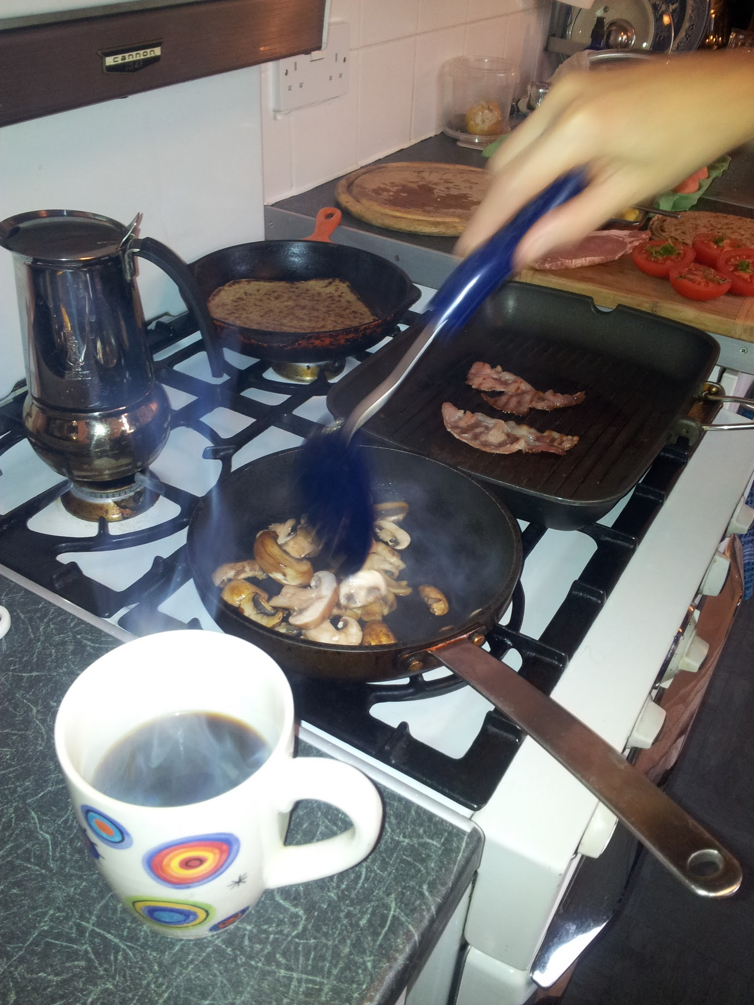 Staffordshire oatcakes - cooking