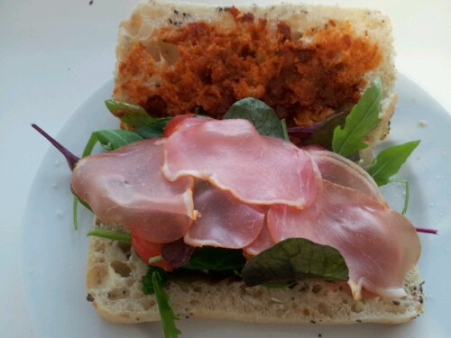 Parma ham and red pesto on ciabatta