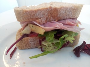 Artichoke, ham and salad sandwich