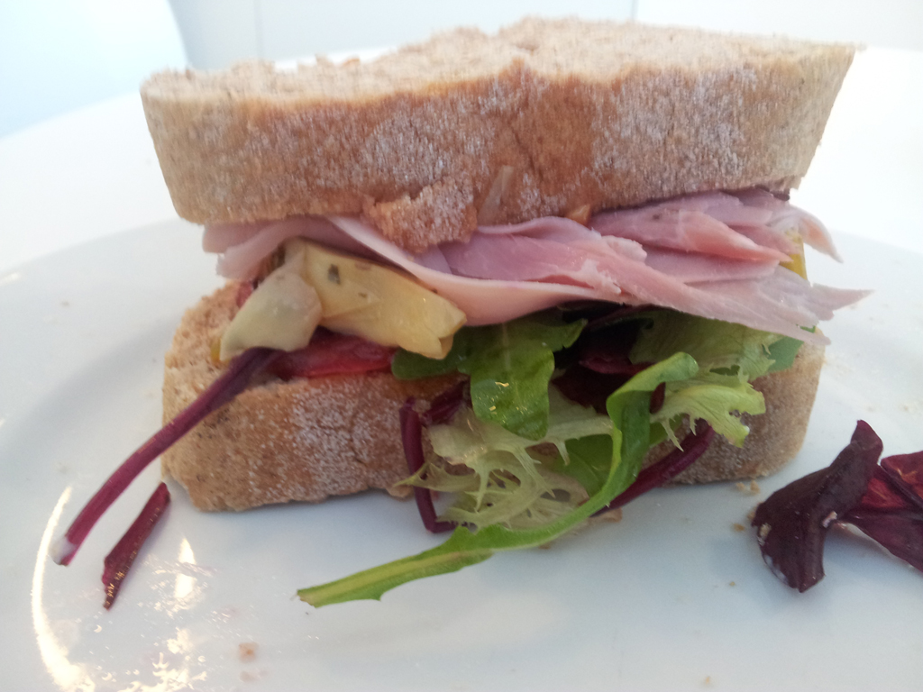 Artichoke, ham and salad sandwich