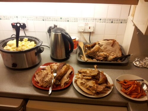 carved turkey, mashed potato, carrots