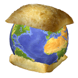 The earth between two pieces of bread