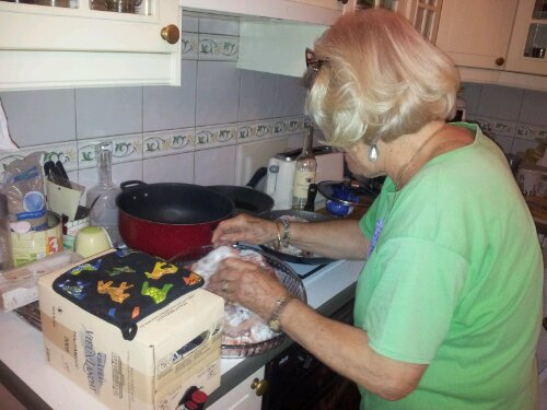 Ossobuco cooking with Ginette