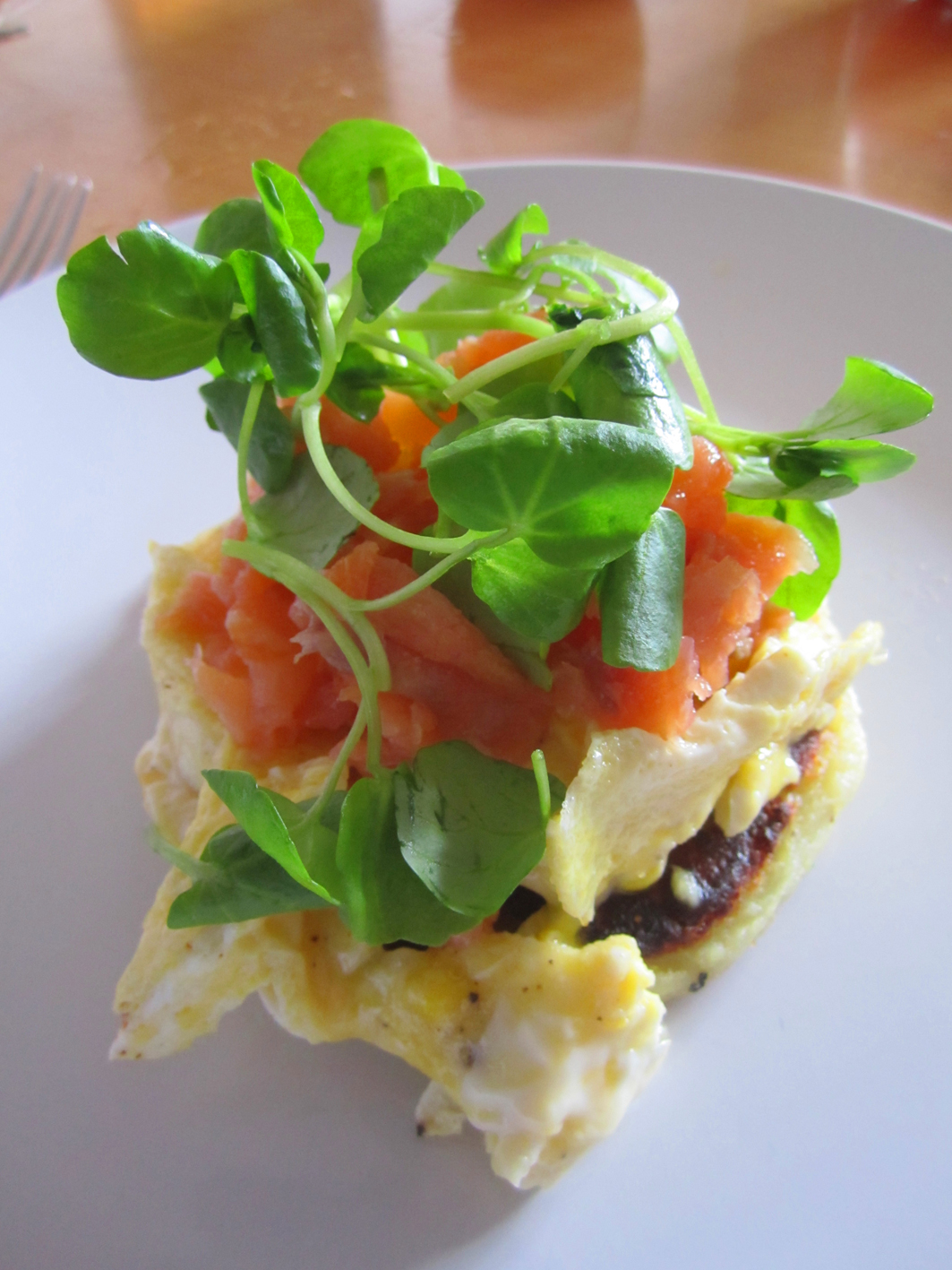 Salmon & Scrambled egg with cress on Scottish potato cake